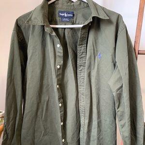 Ralph Lauren: Army green, button down dress shirt